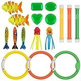 Anpro 16Stk Tauchen Spielzeug, 3 Tauchringe 3 Toypedo Bandits, 3 Tauchstöcke 3...