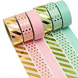 K-LIMIT 6er Set Washi Tape Dekoband Masking Tape Klebeband Scrapbooking DIY 9156