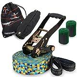 ALPIDEX Slackline Set 15 m + Baumschutz und Ratschenschutz, geeignet für Kinder,...