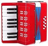 Classic Cantabile Bambino Rosso Kinder Akkordeon, Rot (ab 3 Jahre, 17 Noten Tasten, 8...