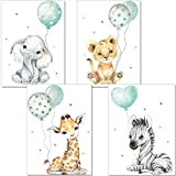 artpin® Poster Kinderzimmer - Bilder Babyzimmer Deko, Junge Mädchen - Dschungel mint...