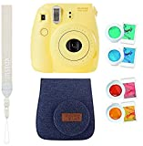 Instax Mini 8 Sofortbildkamera gelb mit Tasche, Trageriemen und Farblinsen