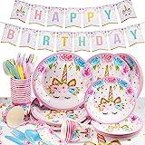Yosemy Gebutstag Party Set Einhorn Party-Set 114-pcs Einweg Pink Mädchen Einhorn...
